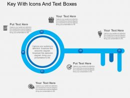 Key With Icons And Text Boxes Flat Powerpoint Design