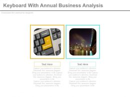 Keyboard With Annual Business Analysis Flat Powerpoint Design
