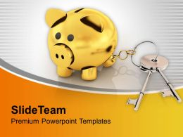 Keys Connected To Money Bank Investment Powerpoint Templates Ppt Themes And Graphics 0313