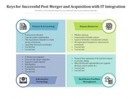 Keys For Successful Post Merger And Acquisition With IT Integration