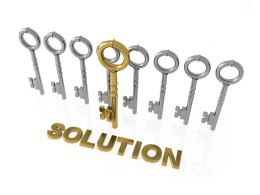 Keys In Row With One Golden Key To Show Solution Stock Photo