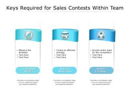 Keys Required For Sales Contests Within Team