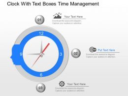 kf Clock With Text Boxes Time Management Powerpoint Template