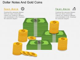 kf Dollar Notes And Gold Coins Flat Powerpoint Design