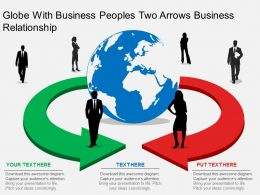 kf Globe With Business Peoples Two Arrows Business Relationship Flat Powerpoint Design