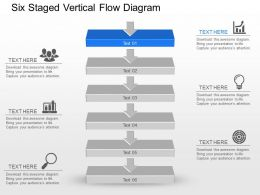 Kf Six Staged Vertical Flow Diagram Powerpoint Template