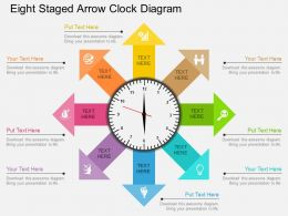 kg Eight Staged Arrow Clock Diagram Flat Powerpoint Design