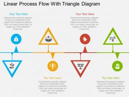 kg Linear Process Flow With Triangle Diagram Flat Powerpoint Design