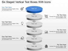 Kg Six Staged Vertical Text Boxes With Icons Powerpoint Template