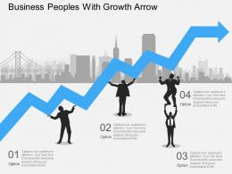 kh Business Peoples With Growth Arrow Flat Powerpoint Design