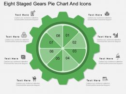 Kh Eight Staged Gears Pie Chart And Icons Flat Powerpoint Design