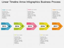 kh Linear Timeline Arrow Infographics Business Process Flat Powerpoint Design