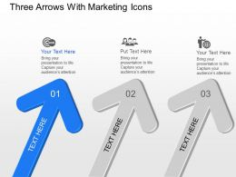 Kh Three Arrows With Marketing Icons Powerpoint Template