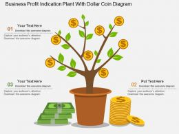 ki Business Profit Indication Plant With Dollar Coin Diagram Flat Powerpoint Design