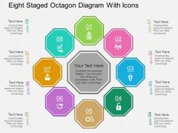 Ki Eight Staged Octagon Diagram With Icons Flat Powerpoint Design