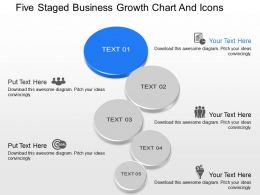 ki Five Staged Business Growth Chart And Icons Powerpoint Template