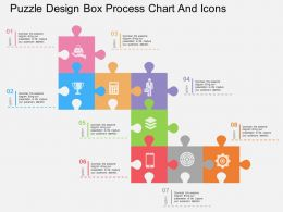 ki Puzzle Design Box Process Chart And Icons Flat Powerpoint Design