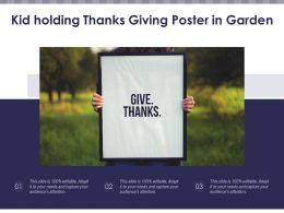 Kid Holding Thanks Giving Poster In Garden