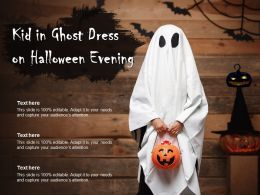 Kid In Ghost Dress On Halloween Evening