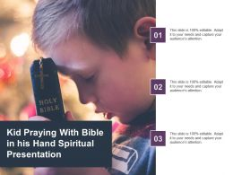 Kid Praying With Bible In His Hand Spiritual Presentation