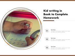 Kid Writing In Book To Complete Homework