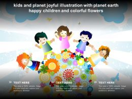 Kids And Planet Joyful Illustration With Planet Earth Happy Children And Colorful Flowers