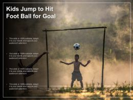 Kids Jump To Hit Foot Ball For Goal