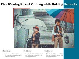 Kids Wearing Formal Clothing While Holding Umbrella