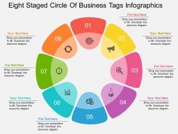 kj Eight Staged Circle Of Business Tags Infographics Flat Powerpoint Design