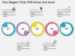 kj Five Staged Circle With Arrow And Icons Flat Powerpoint Design