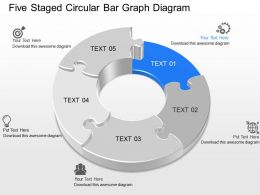 kj Five Staged Circular Bar Graph Diagram Powerpoint Template