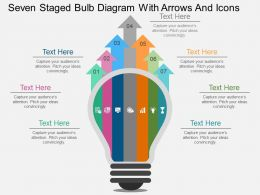 kj Seven Staged Bulb Diagram With Arrows And Icons Flat Powerpoint Design