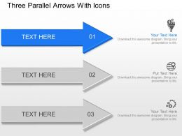 Kj Three Parallel Arrows With Icons Powerpoint Template