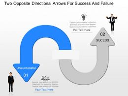 kj Two Opposite Directional Arrows For Success And Failure Powerpoint Template