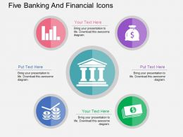 kk Five Banking And Financial Icons Flat Powerpoint Design
