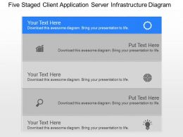 kk Five Staged Client Application Server Infrastructure Diagram Powerpoint Template