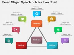 kk Seven Staged Speech Bubbles Flow Chart Flat Powerpoint Design
