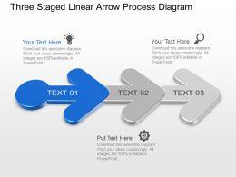 Kk Three Staged Linear Arrow Process Diagram Powerpoint Template