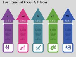 kl Five Horizontal Arrows With Icons Flat Powerpoint Design
