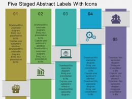 Kl Five Staged Abstract Labels With Icons Flat Powerpoint Design