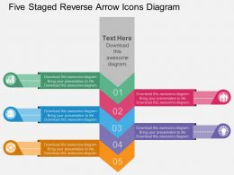 kl Five Staged Reverse Arrow Icons Diagram Flat Powerpoint Design