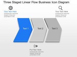 Kl Three Staged Linear Flow Business Icon Diagram Powerpoint Template
