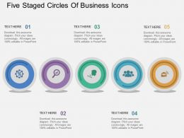 km Five Staged Circles Of Business Icons Flat Powerpoint Design