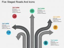 km Five Staged Roads And Icons Flat Powerpoint Design