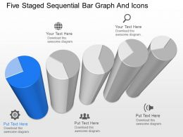 km Five Staged Sequential Bar Graph And Icons Powerpoint Template