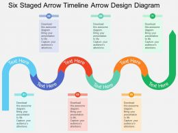 km Six Staged Arrow Timeline Arrow Design Diagram Flat Powerpoint Design