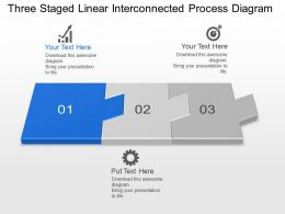 Km Three Staged Linear Interconnected Process Diagram Powerpoint Template