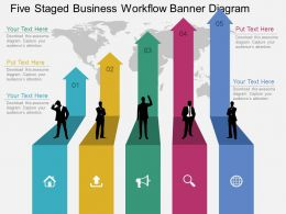 Kn Five Staged Business Workflow Banner Diagram Flat Powerpoint Design