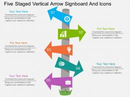 kn Five Staged Vertical Arrow Signboard And Icons Flat Powerpoint Design