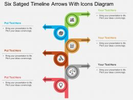 kn Six Staged Timeline Arrows With Icons Diagram Flat Powerpoint Design